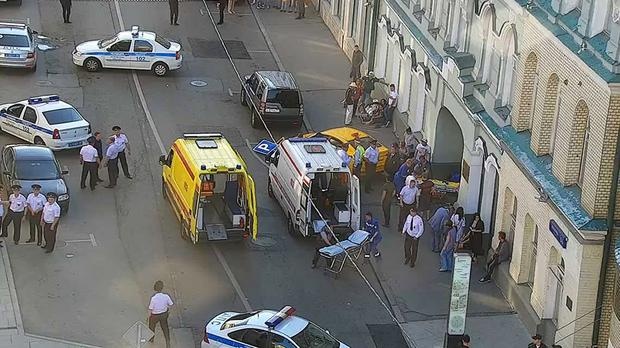 The taxi crashed into pedestrians on a pavement near red Square (Moscow Traffic Control Centre Press Service via AP)