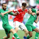 Saudi Arabia in action against Russia in the World Cup's opening game (Adam Davy/PA)