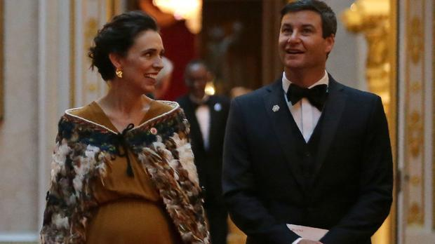 New Zealand's prime minister Jacinda Ardern and her partner Clarke Gayford during the Commonwealth meeting at Buckingham Palace (Daniel Leal-Olivas/PA)