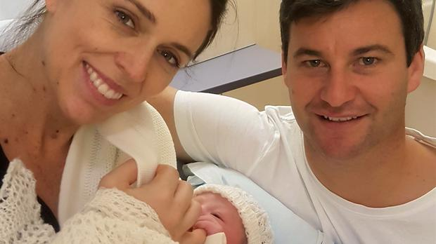 Jacinda Ardern and her partner Clarke Gayford with their newborn daughter (Office of the Prime Minister of New Zealand via AP)