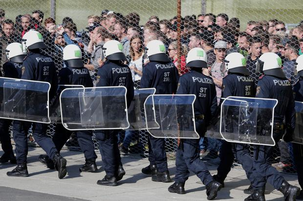 Police hold a drill on the Austrian border. Photo: Reuters
