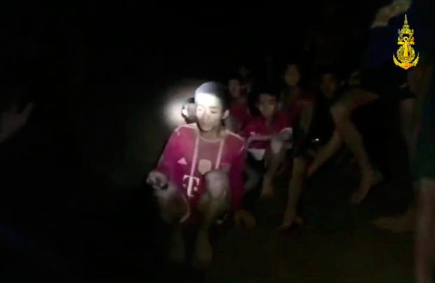 The missing boys sit on a ledge 6.5km deep in the Tham Luang cave in Thailand
