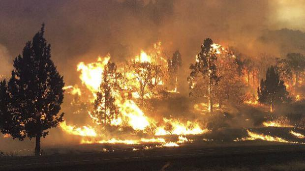 The Klamathon fire burns in Hornbrook (California Highway Patrol via AP)
