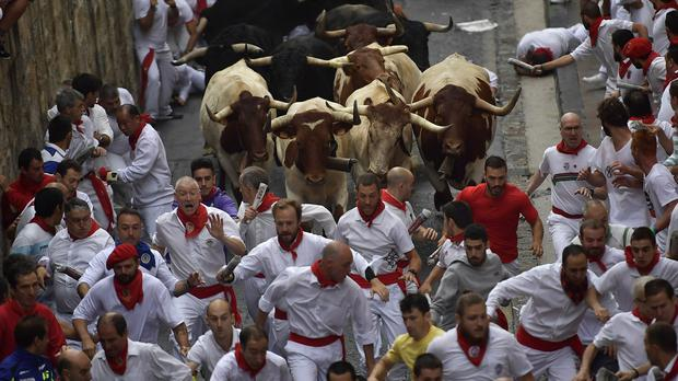 Revellers run in front of the fighting bulls (AP Photo/Alvaro Barrientos)