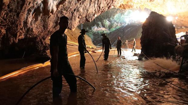 Thai rescue teams are attempting to bring out the boys from the cave (Royal Thai Navy via AP)