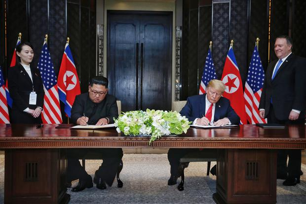 Donald Trump and Kim Jong Un met in Singapore last month (Kevin Lim/The Straits Times/AP)