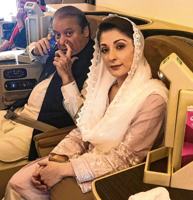 Nawaz Sharif and his daughter Maryam yesterday Photo: Reuters