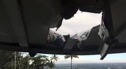 The boat was hit by volcanic lava (Hawaii Department of Land and Natural Resources via AP)