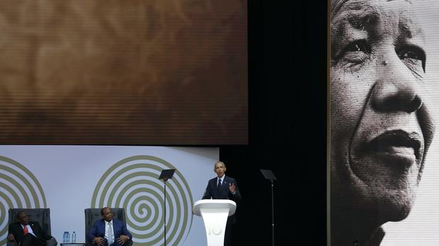 Mr Obama delivers his speech (AP)