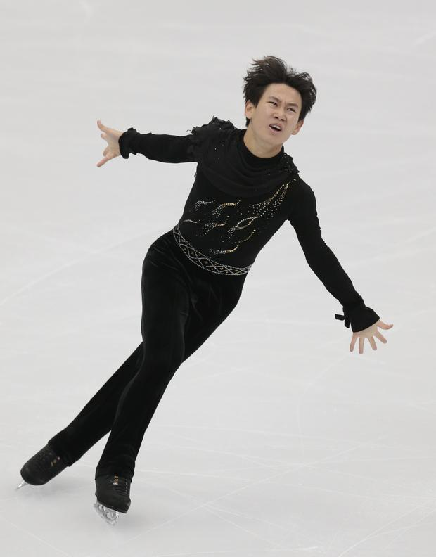Denis Ten, of Kazakhstan, skating in Moscow (Ivan Sekretarev/AP)