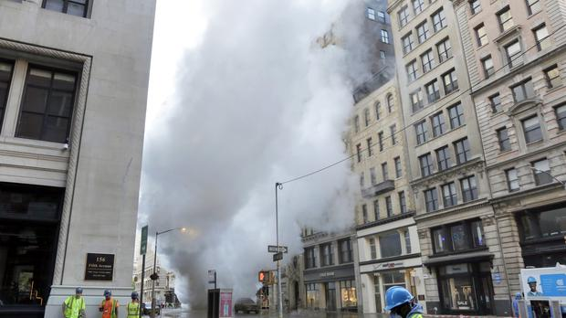 Steam billows on New York's Fifth Avenue (Richard Drew/AP)