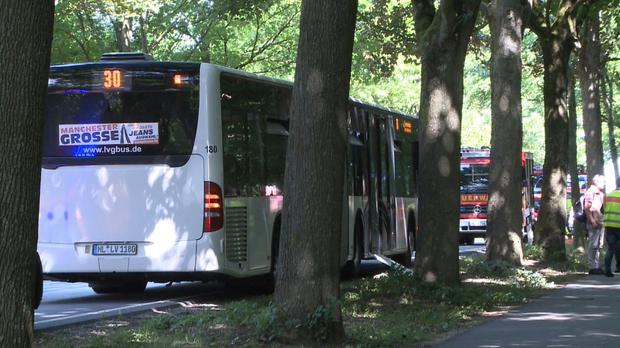 A bus stands on a street in Luebeck, northern Germany, amid reports a man attacked people inside (AP)
