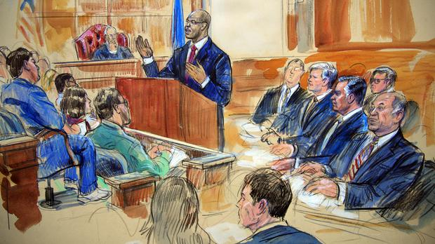 A sketch of the courtroom during the trial of Paul Manafort (Dana Verkouteren via AP)