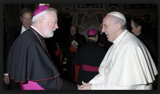 HELPING HAND: As foreign minister, Archbishop Paul Gallagher, left, is a 'close collaborator' with Pope Francis, meeting him at least once a week, if not more often.