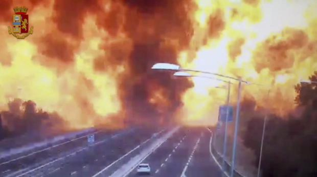 The moment the truck transporting flammable substances exploded (Italian Police video via AP)