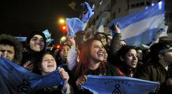 Demonstrators against abortion celebrate outside Congress (Luisa Balaguer/AP)