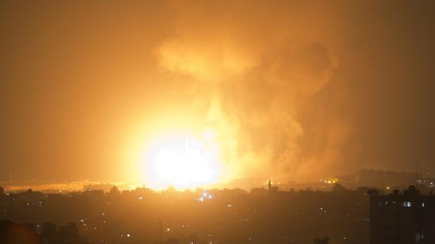 An explosion caused by Israeli airstrikes on Gaza (AP)