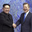 North Korean leader Kim Jong Un, left, with South Korean President Moon Jae-in last year (Korea Summit Press Pool via AP)