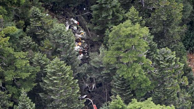 The wreckage of the air rescue helicopter (Akiko Matsushita/Kyodo News/AP)