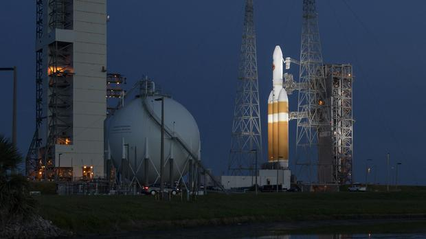 The United Launch Alliance Delta IV Heavy rocket with the Parker Solar Probe on board (Nasa/AP)