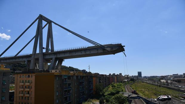 A view of the remains of the collapsed Morandi bridge in Genoa (Nicola Marfisi/AP)