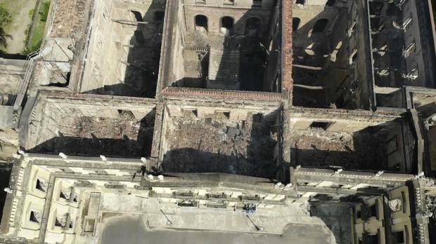 The National Museum, seen from above, stands gutted after the blaze (AP)