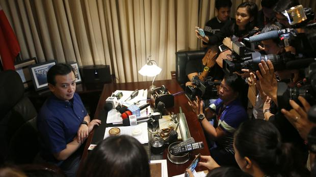 Antonio Trillanes IV in his office (AP)