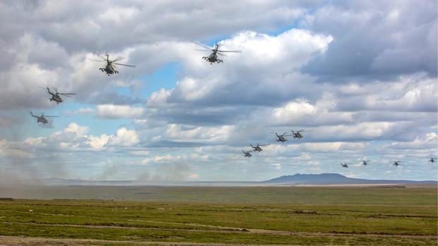 Russian military helicopters in the Chita region (Russian Defense Ministry Press Service pool photo via AP)