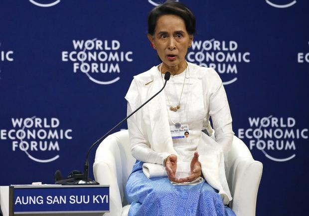 Aung San Suu Kyi during a one-on-one discussion at the World Economic Forum meeting (Bullit Marquez/AP)