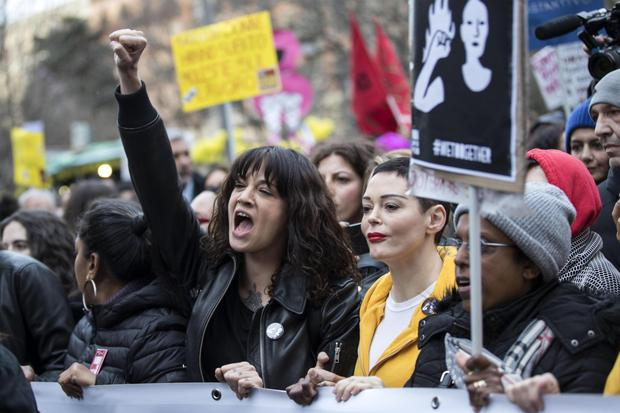 ON THE PROTEST CIRCUIT: Asia Argento and Rose McGowan