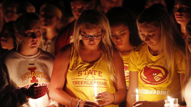 Students during a vigil for Iowa State University student Celia Barquin Arozamena (Charlie Neibergall/AP)
