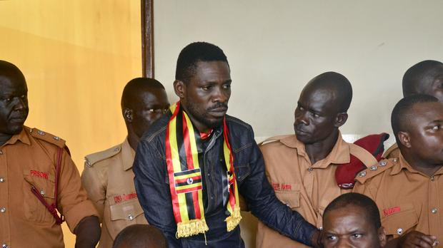 File photo of Ugandan pop star-turned-politician Kyagulanyi Ssentamu, also known as Bobi Wine (STR/AP)