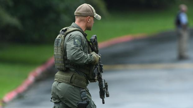 Authorities respond to a shooting in Harford County, Maryland (Jerry Jackson/AP)
