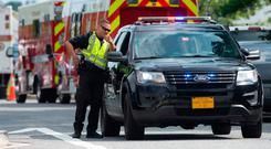Police block off roads after the shooting in Maryland. Photo: Getty Images