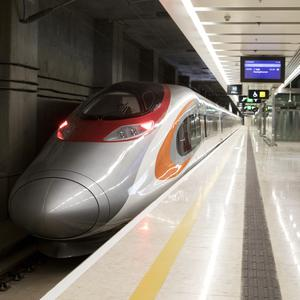 A Guangzhou-Shenzhen-Hong Kong train waits at West Kowloon Station (Giulia Marchi/Pool Photo via AP)