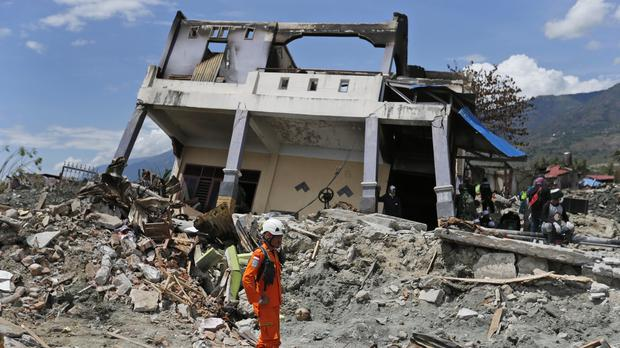 A collapsed house in Palu (AP Photo/Dita Alangkara)