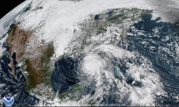 A satellite image shows Hurricane Michael in the Gulf of Mexico on Tuesday