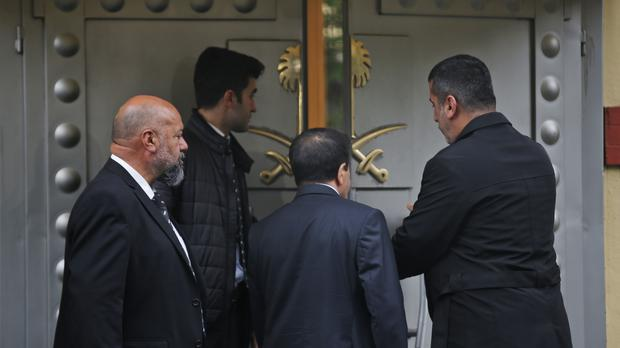 Security guards enter Saudi Arabia's Consulate in Istanbul (Petros Giannakouris/AP)
