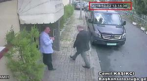This image taken from CCTV video obtained by the Turkish newspaper Hurriyet purportedly shows journalist Jamal Khashoggi entering the Saudi consulate (Hurriyet/AP)