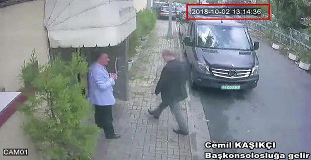 CCTV video of a man believed to be Jamal Khashoggi entering the Saudi consulate in Istanbul (CCTV/Hurriyet/AP)
