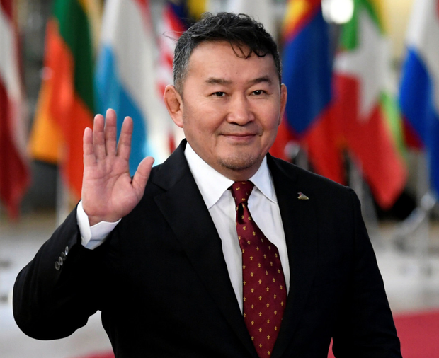Mongolia's President Khaltmaagiin Battulga at the Asia-Europe Leaders Meeting being held in Brussels yesterday. Photo: Reuters