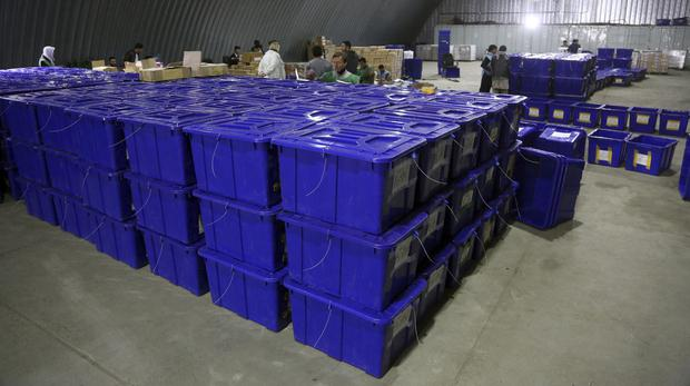 Ballot boxes for use in Afghanistan's election (Rahmat Gul/AP)