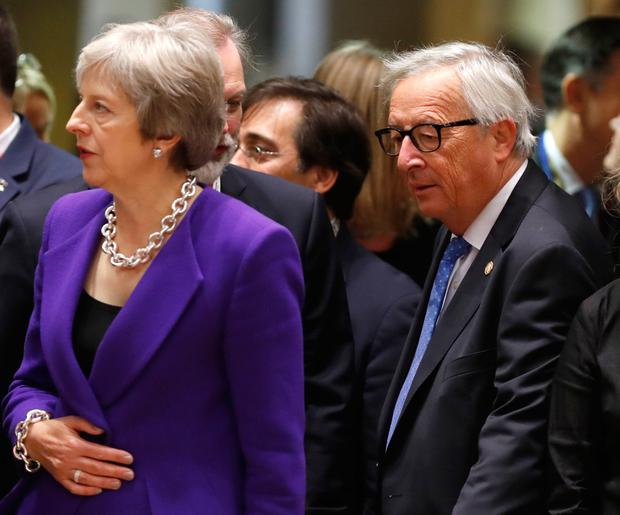 Brexit talks: British Prime Minister Theresa May and European Commission President Jean-Claude Juncker in Brussels on Thursday