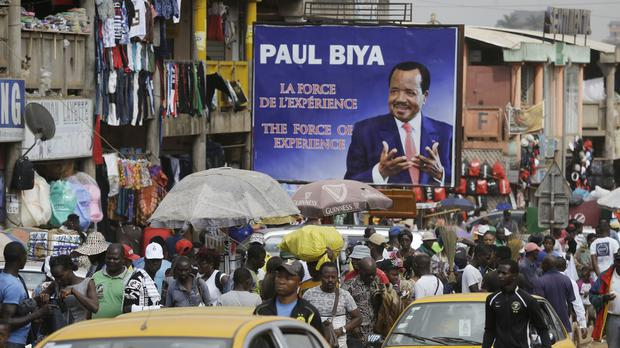 An election campaign billboard of Cameroon president Paul Biya (AP)