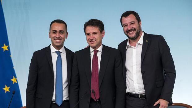 Left to right: Italy's vice premier Luigi Di Maio, premier Giuseppe Conte and vice premier Matteo Salvini (Angelo Carconi/ANSA via AP)