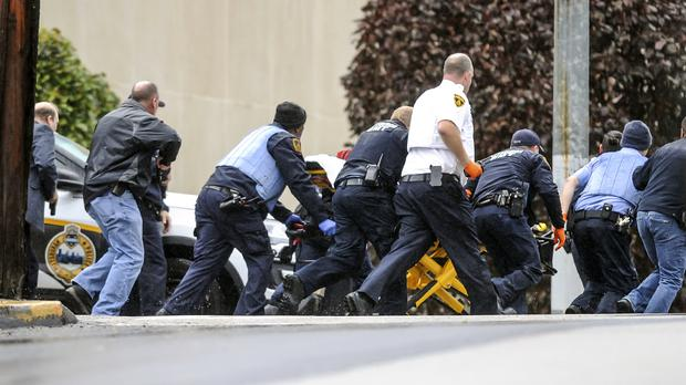 Several people were shot at the Tree of Life Congregation in Pittsburgh's Squirrel Hill neighbourhood (Alexandra Wimley/Pittsburgh Post-Gazette via AP)