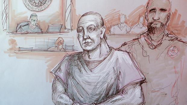 In this courtroom sketch, Cesar Sayoc, left, appears in federal court (Daniel Pontet/AP)