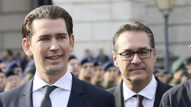 Austria's Chancellor Sebastian Kurz, left, and vice chancellor Heinz-Christian Strache (AP Photo/Ronald Zak)