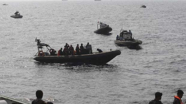 Rescuers conduct recovery operations for the victims of the Lion Air jet that crashed into the sea on Monday (AP Photo/Binsar Bakkara)