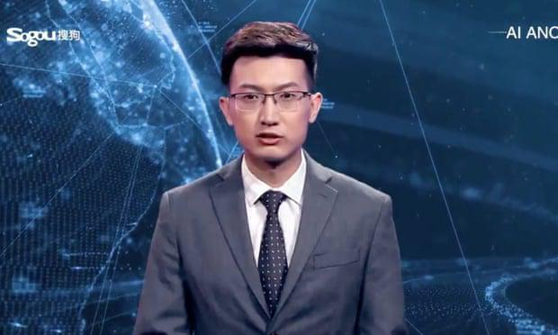 The English-speaking virtual newsreader from Xinhua is based on the flesh-and-blood Xinhua news presenter Zhang Zhao. Photo: Xinhua News screengrab